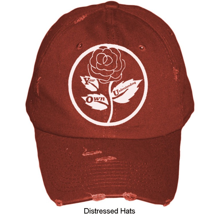 RED distressed-hat